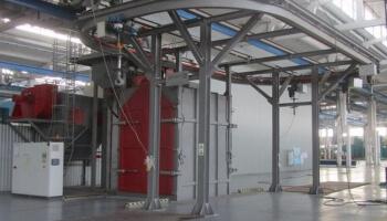 Дробеметная установка проходного типа с подвесными вращающимися крюками (GOSTOL)
